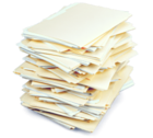 stack of papers and files
