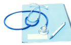 doctor's stethoscope and patient file